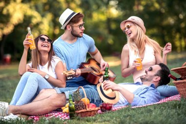 Happy young friends having picnic in the park.They are happy,having fun,smiling and playing guitar.