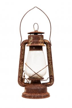 Old rusty lamp. Old lantern, isolated on white background