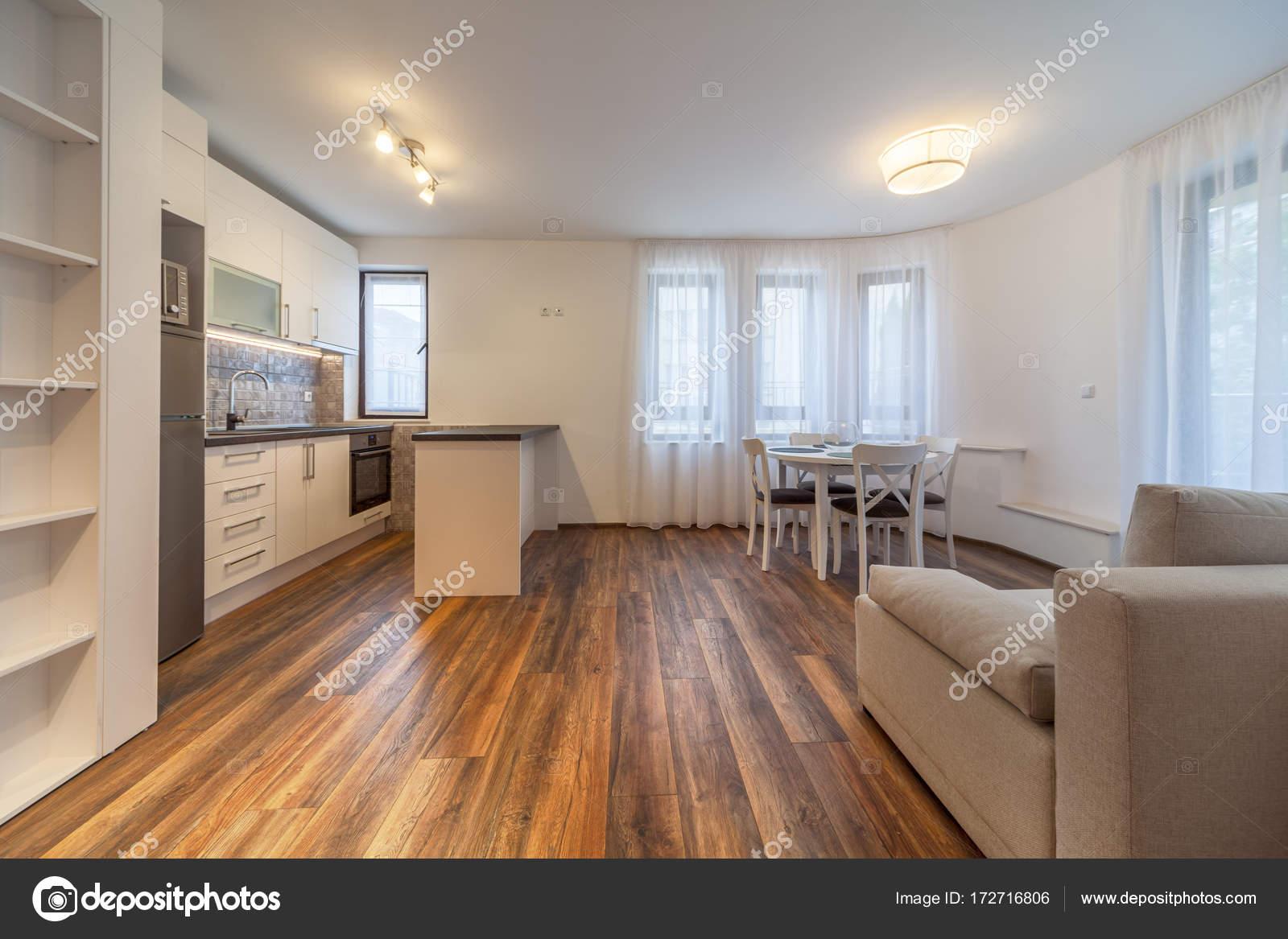 Nieuwe moderne woonkamer met keuken. Nieuw huis. Interieurfotografie ...