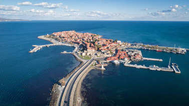 General view of Nessebar, ancient city on the Black Sea coast of Bulgaria. Panoramic aerial view. stock vector
