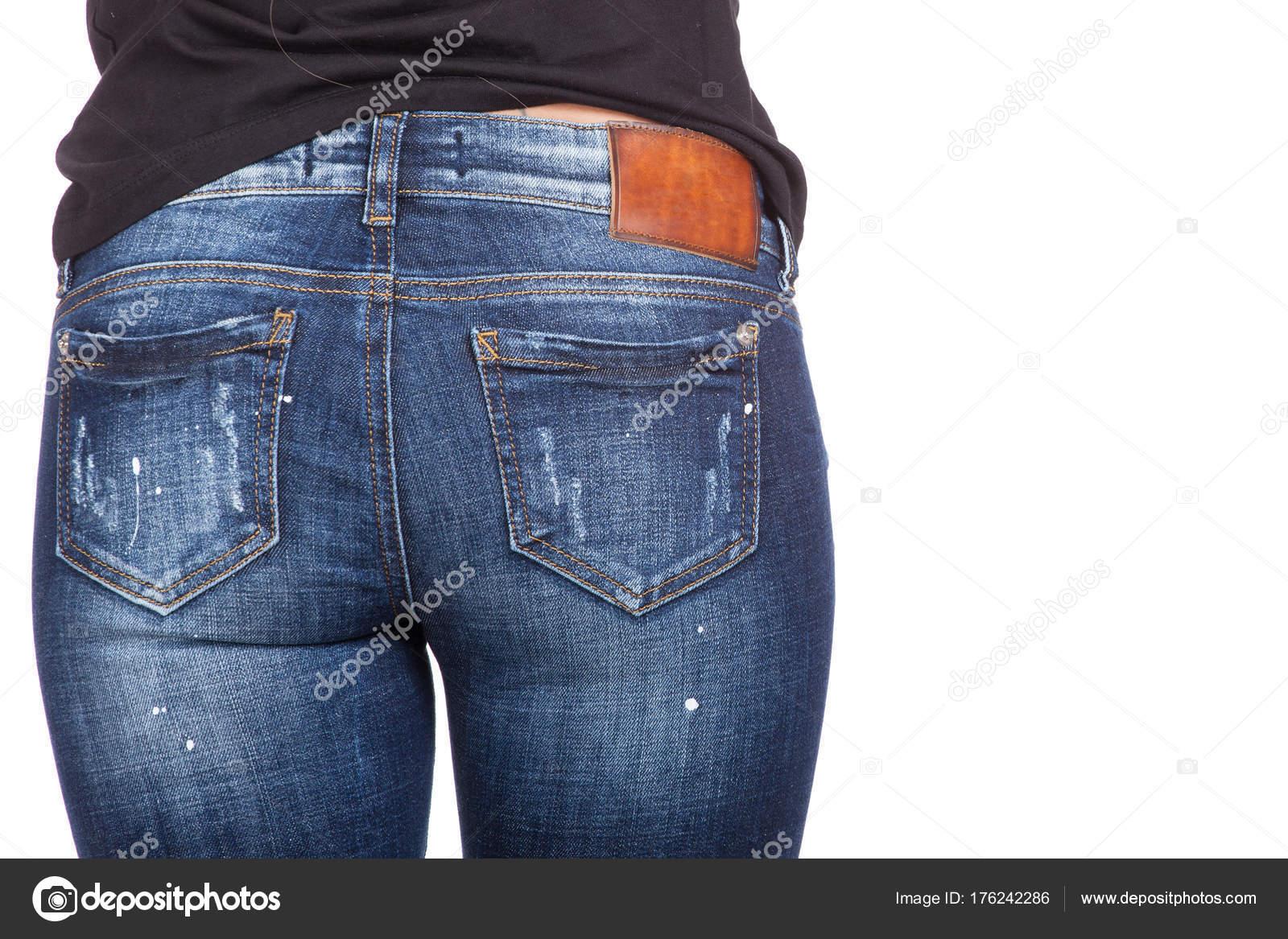 ad4f855fb5 Gros sexy femme portant des jeans bleus. Forme féminine fesses en jeans–  images de stock libres de droits