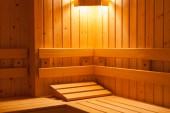Standardní dřevěná sauna interiér