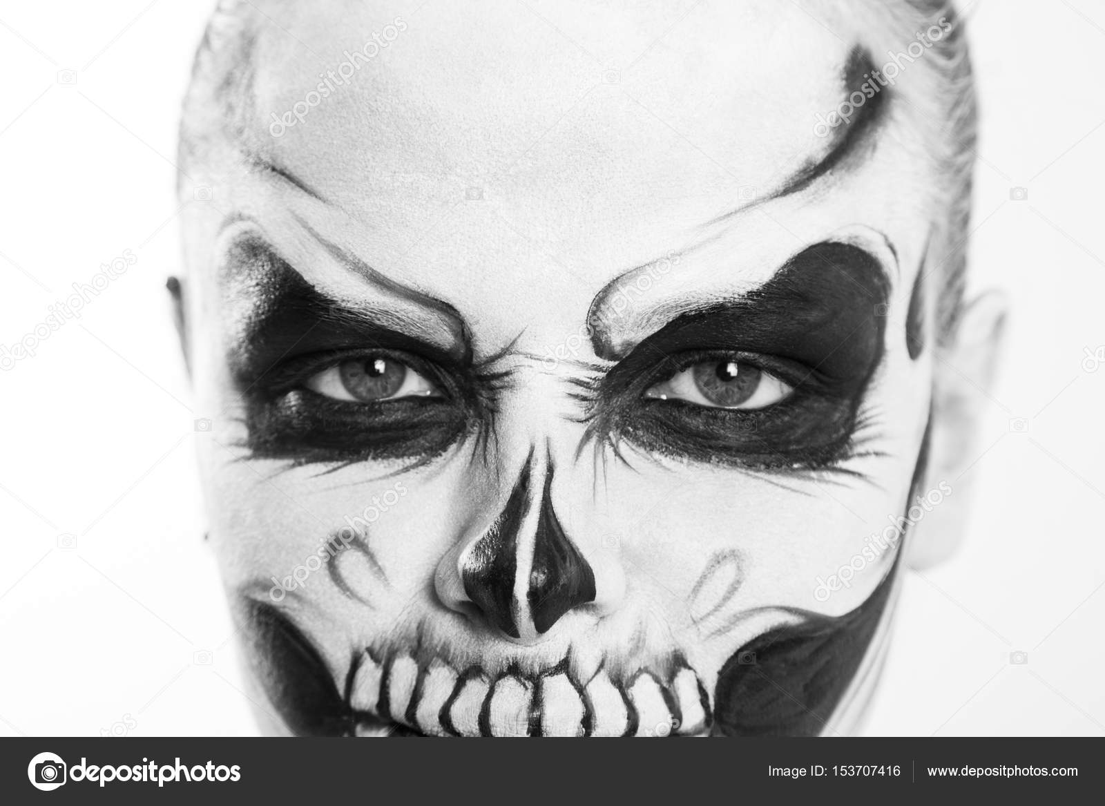 Girl With Creative Halloween Face Art On White Background Stock