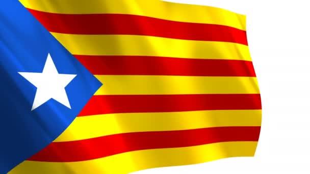 A Catalonia zászló integetett a szél - végtelenített animációs háttér. A kék Estelada katalán zászló.