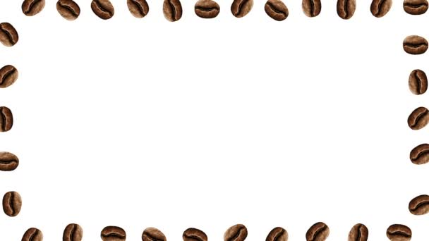 Abstract colorful coffee beans animation