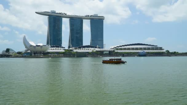 SINGAPORE-FEBRUARY 28, 2020: Singapore business district city skyline. Sunny day view from Marina Bay.