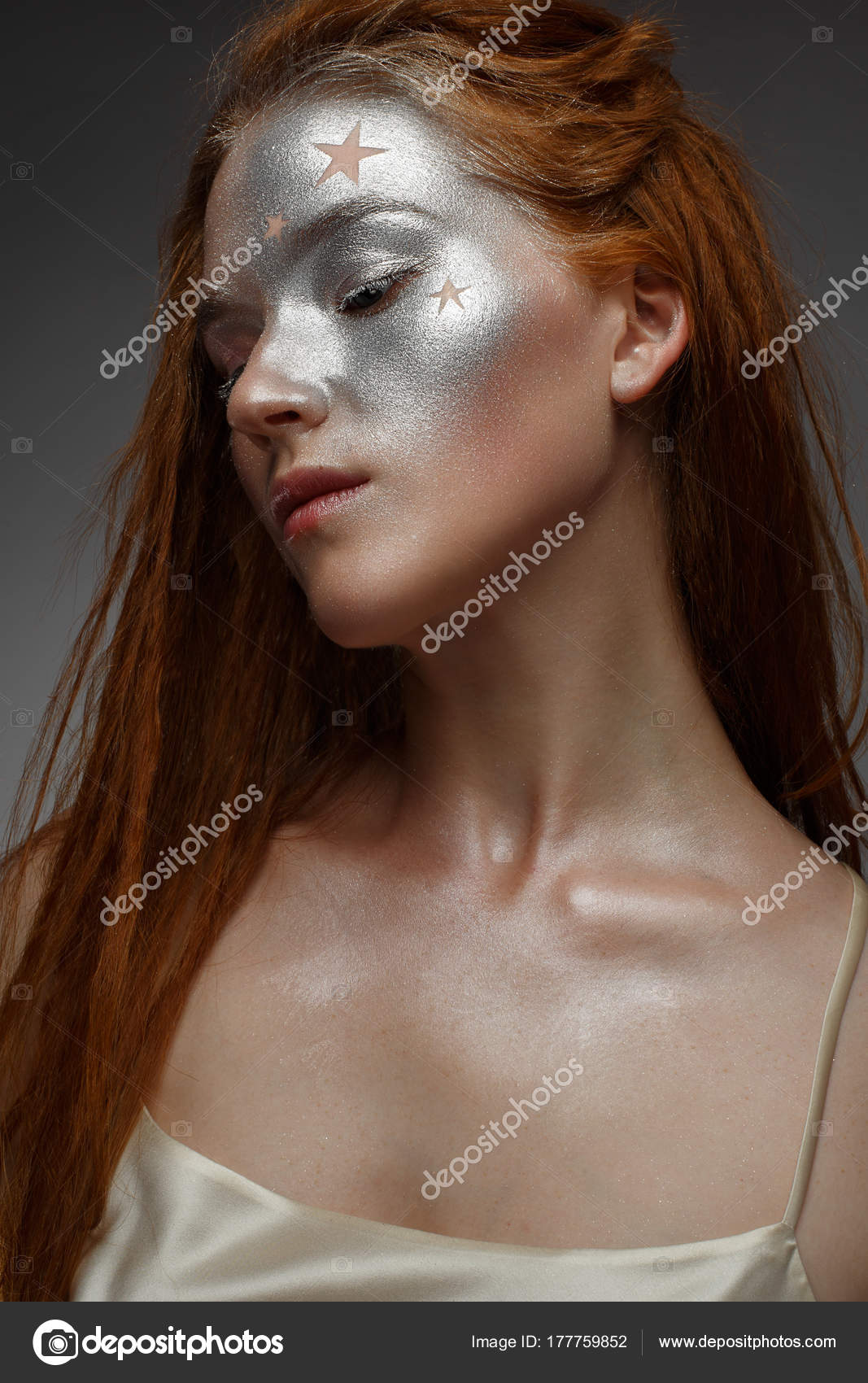 Young Girl Red Hair Brilliant Silver Make Stars Beautiful Model