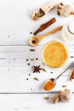 Top view image of turmeric latte and spices