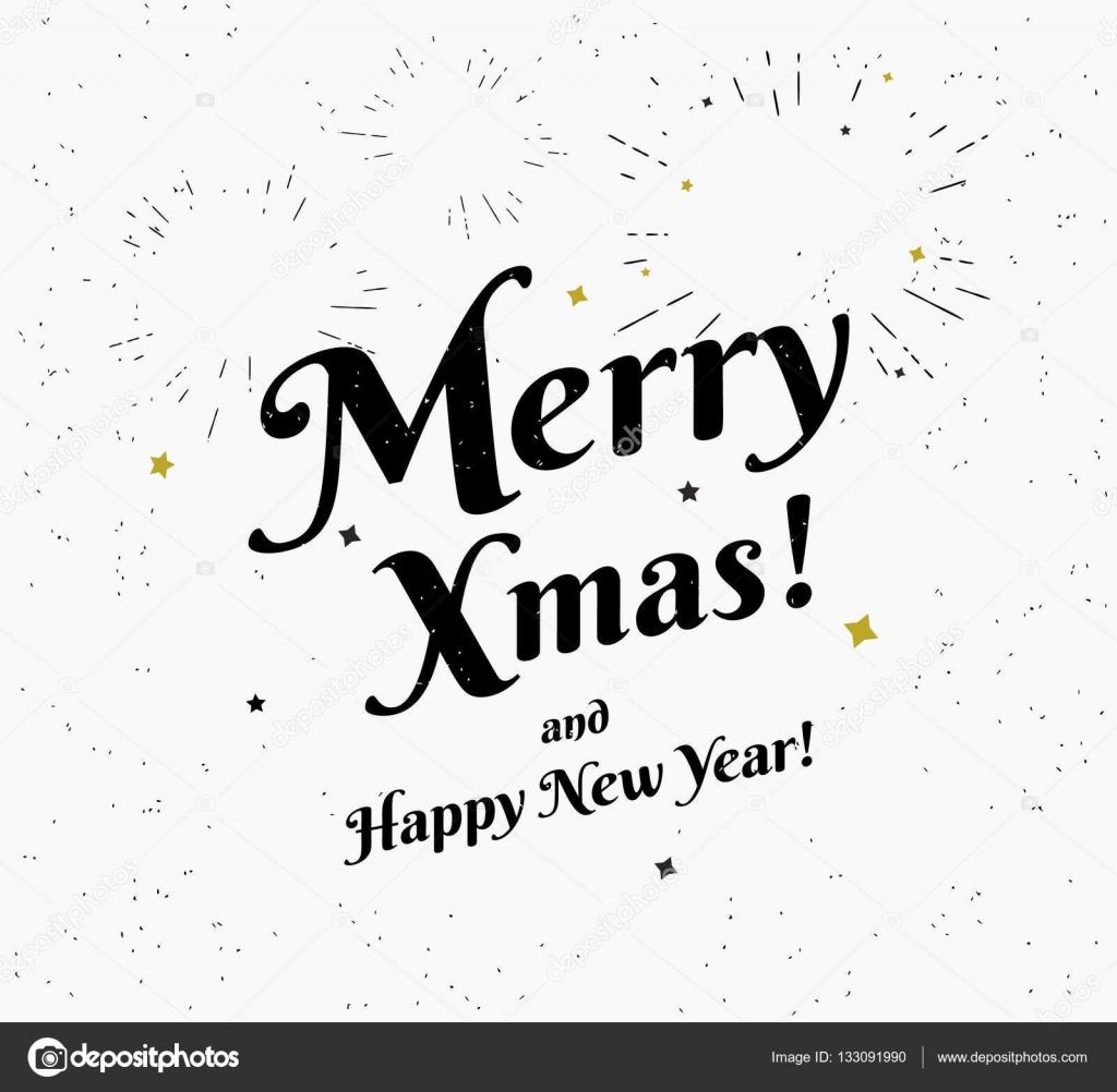 Joyeux Noël Vintage Noir Et Blanc Illustration Vœux De Noël