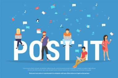 Post it concept illustration of young people using devices such as laptop and smartphone