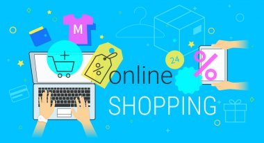 Online shopping on laptop concept vector illustration