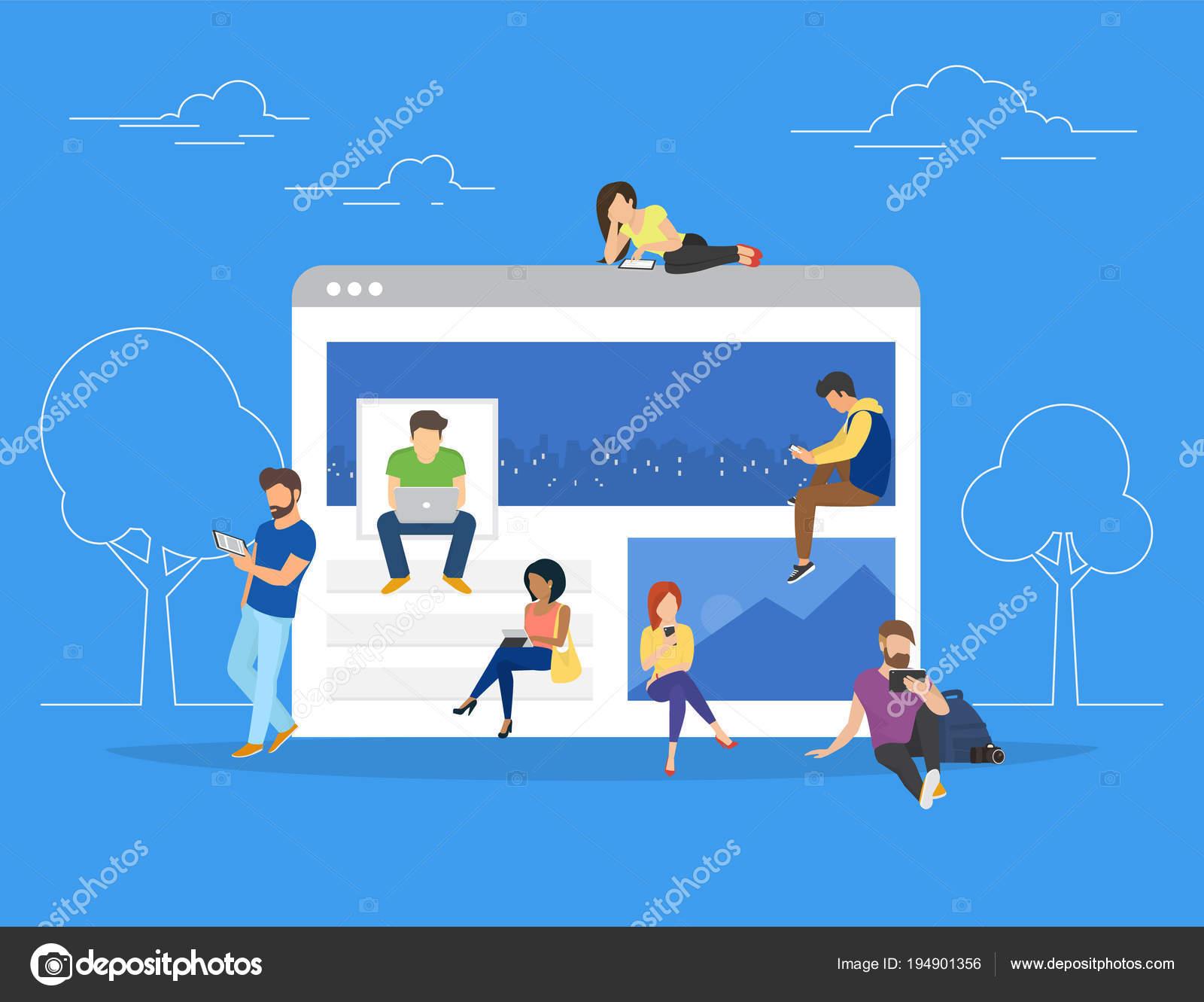 若者 Usi のネットワーク Web ページの概念ベクトル イラスト ストック