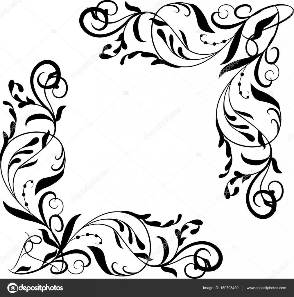 Elemento de esquina de Vector, marco adornado de viñetas — Archivo ...