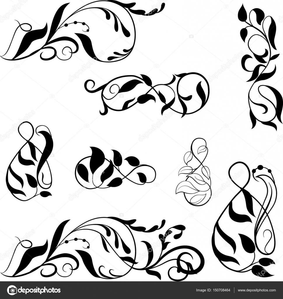 Vector set fronteras, marco adornado de viñetas — Archivo Imágenes ...