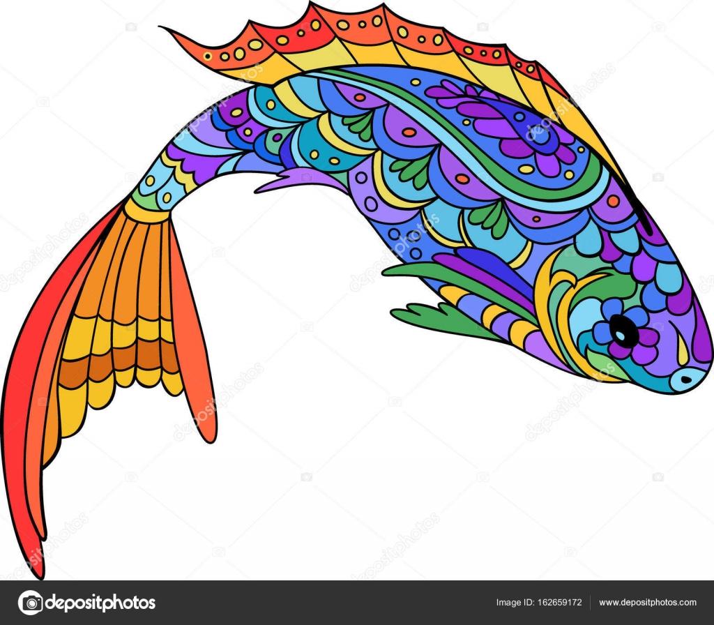 Mano dibuja estilizado mar pescado, zen-doodle estilo arte. Catoon ...