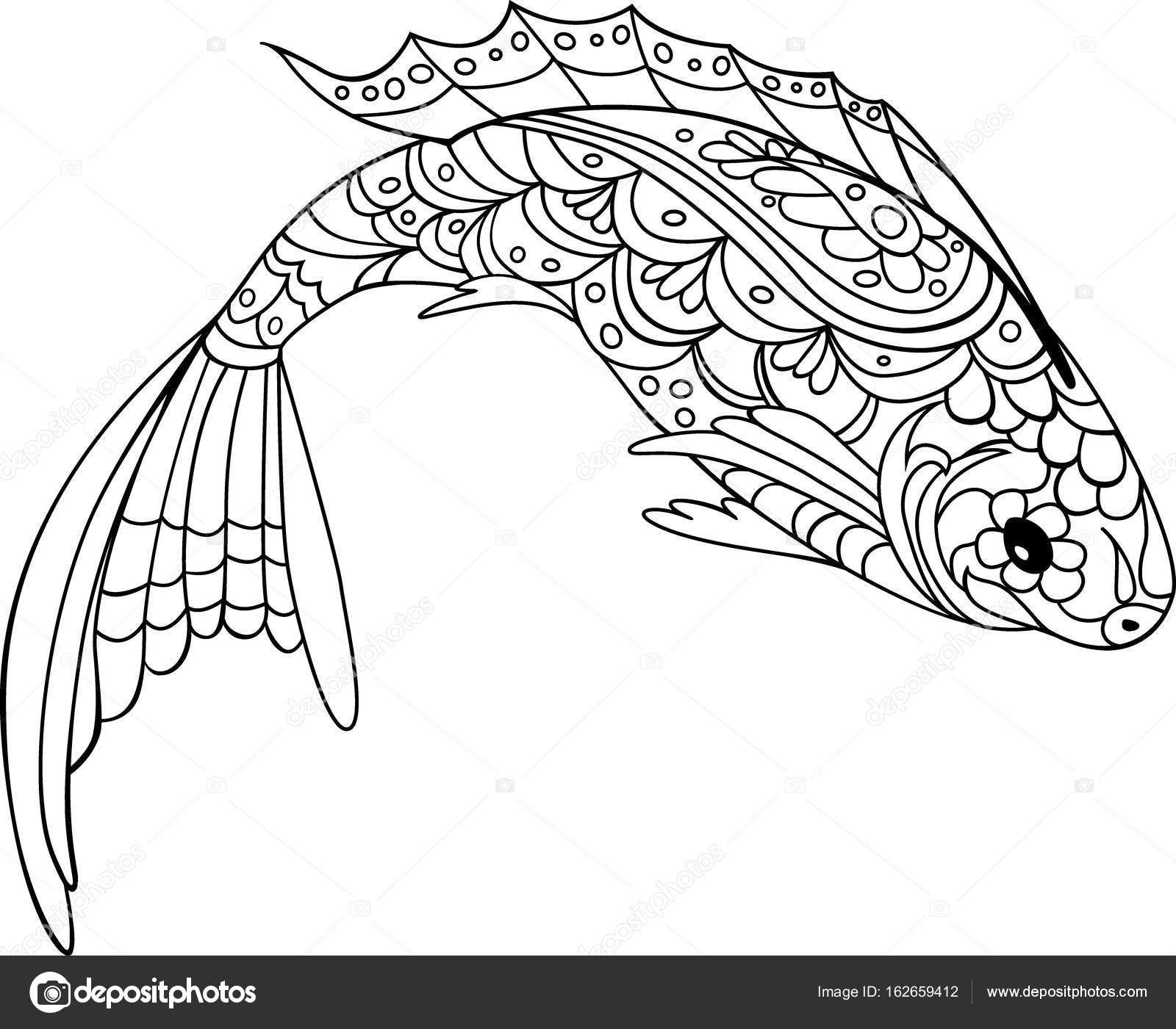 fish zentangle style. Coloring book for adult and kids, antistress ...