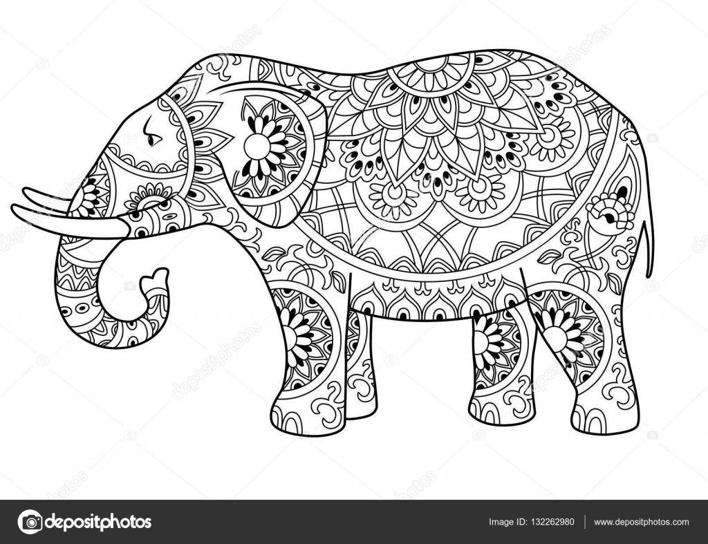 Decorative Outline Elephant Stock Vector 169 Annagarmatiy