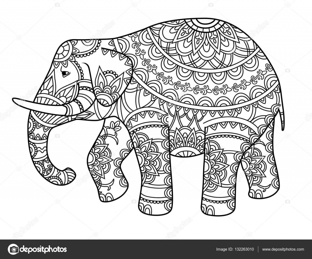 Decorative outline elephant — Stock Vector © AnnaGarmatiy #132263010