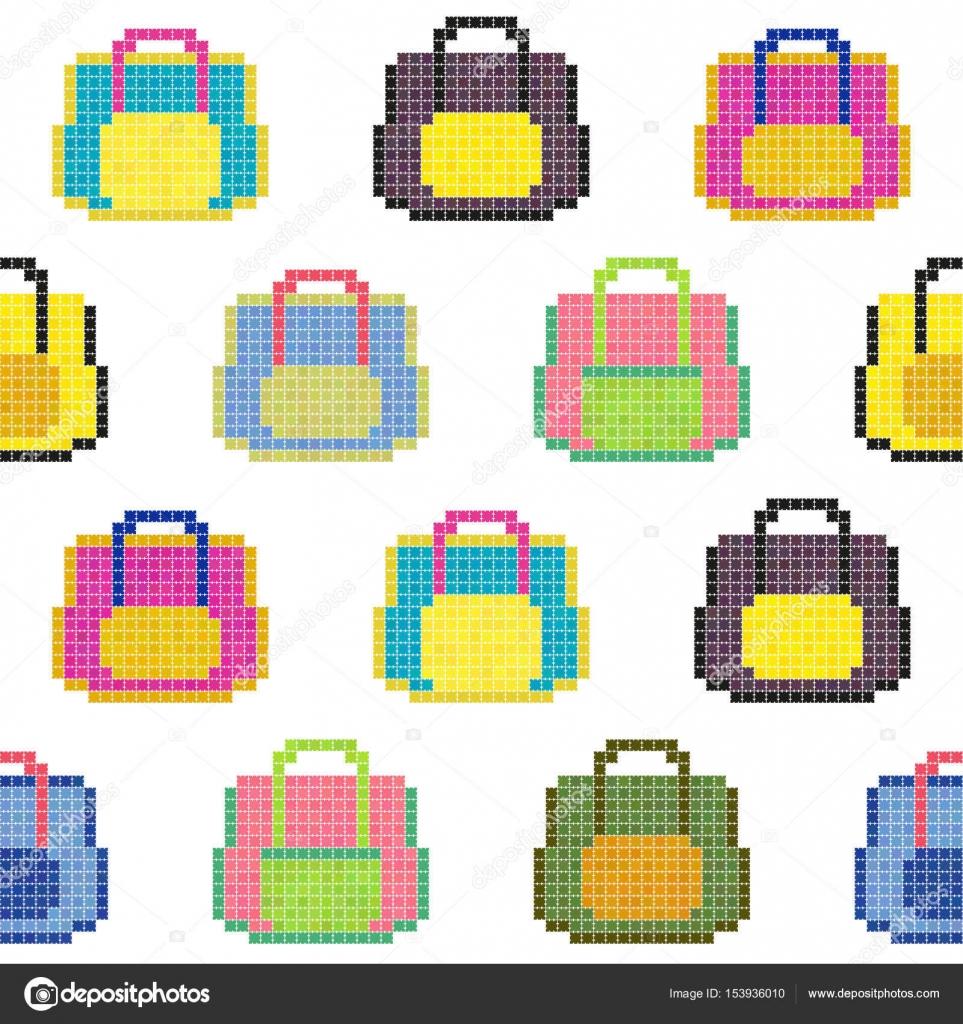 Bolsos coloridos. De patrones sin fisuras. Fondo de pixel — Archivo ...