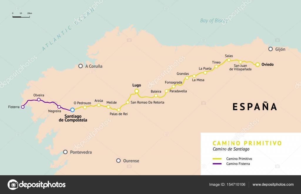 Camino Walk Spain Map.Camino Primitivo Map Camino De Santiago Spain Stock Vector