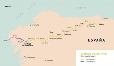 Camino Primitivo map. Camino De Santiago. Spain.