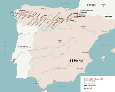 French Way map. Camino De Santiago. France.