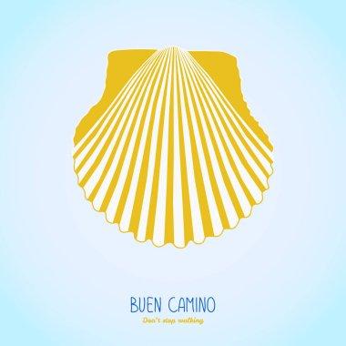 Yellow scallop shell. Camino de Santiago symbol.