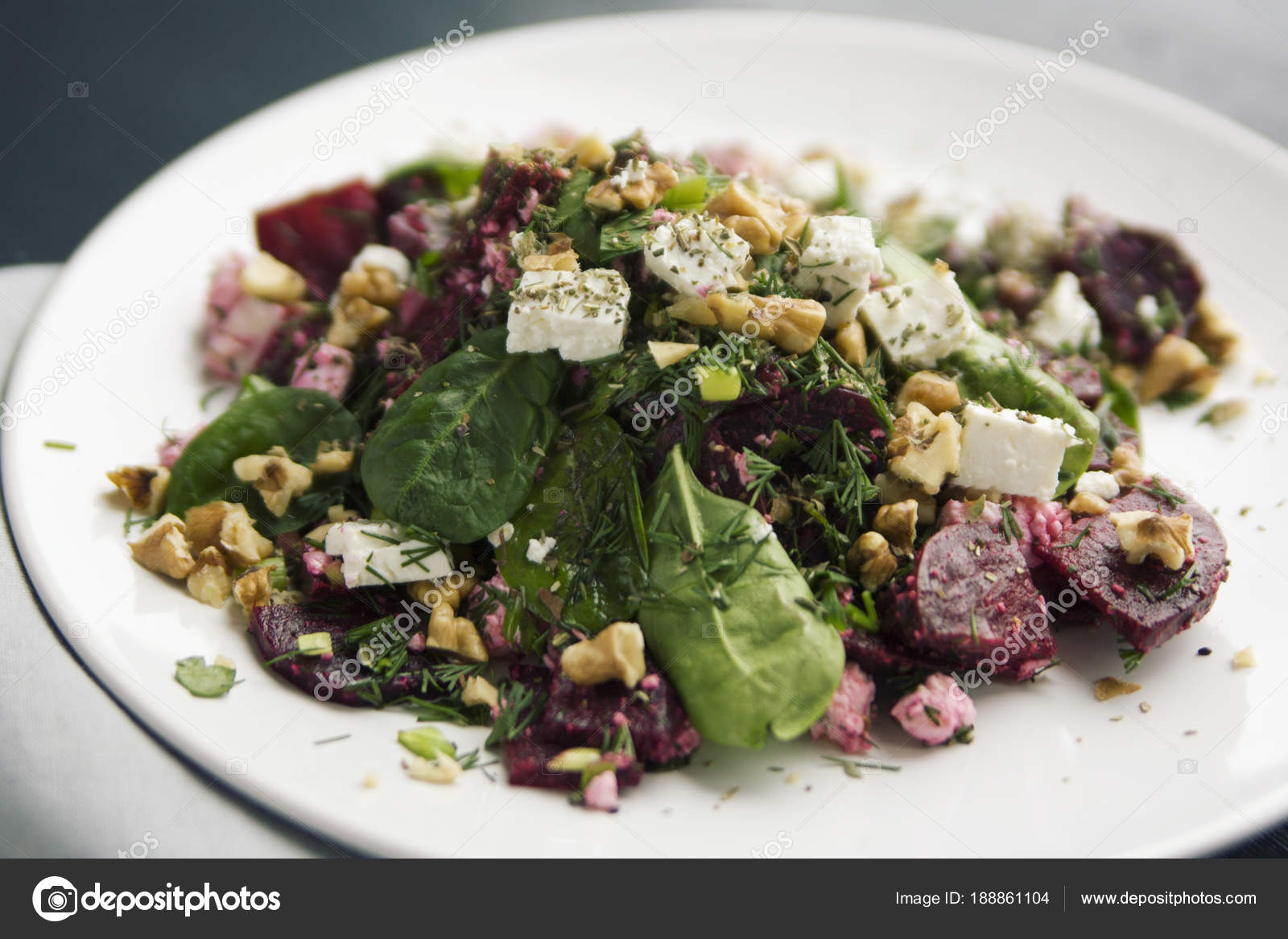 Beetroot Salad With Cottage Cheese, Baby Spinach And Walnuts. European  Cuisine. Organic Food