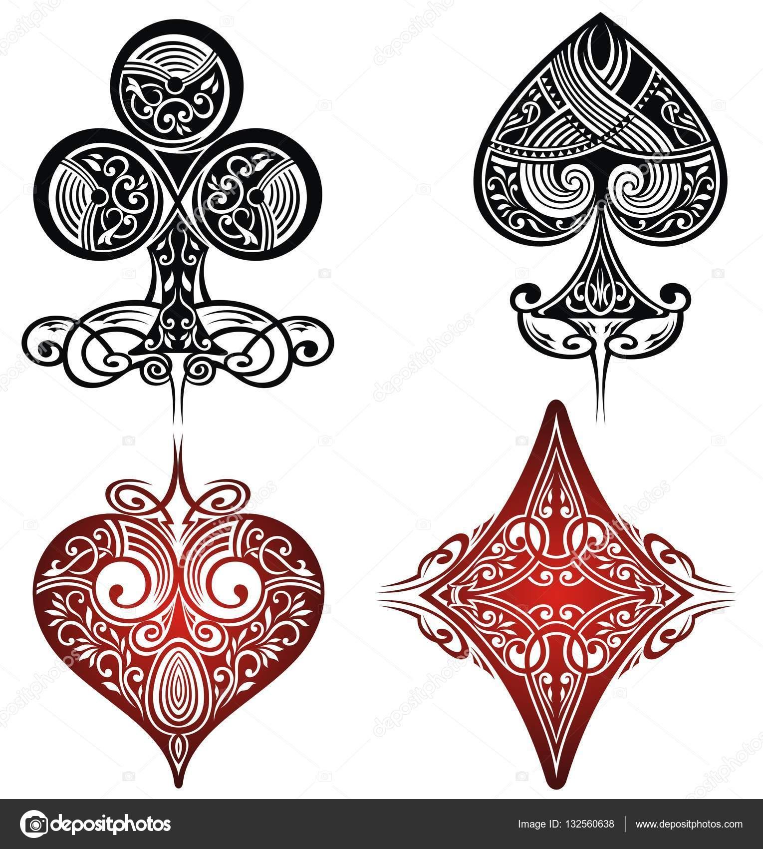 Zestaw Ozdobny Kart Do Gry Zestaw Tatuaży Grafika