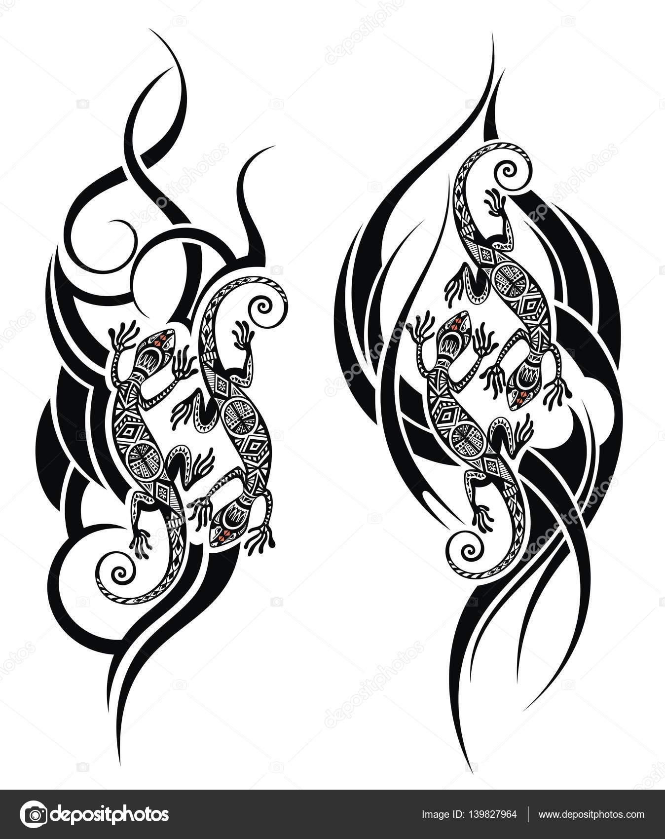 Tatuajes En Blanco Y Negro Pequeños Lagarto Del Tatuaje Conjunto