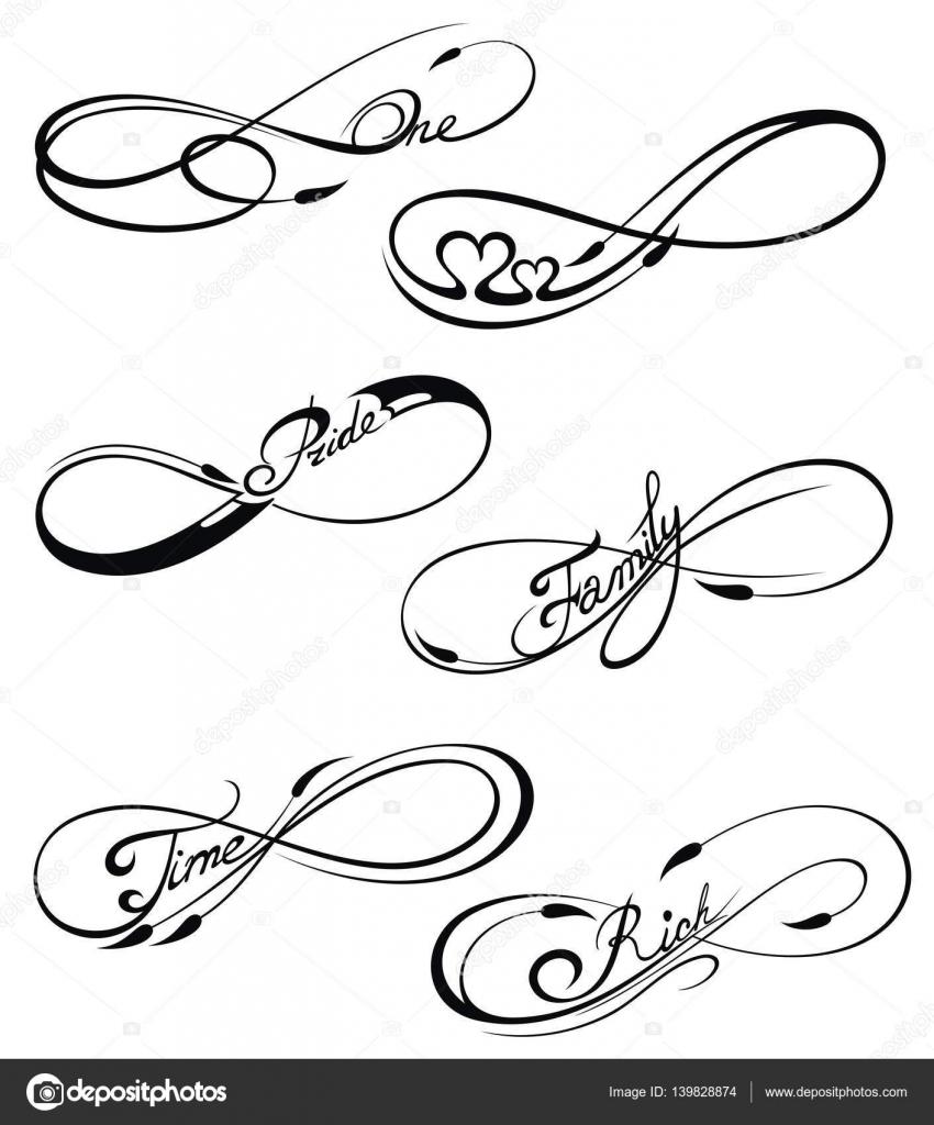 Black Nieskończoności Symboli W Stylu Tatuaż Grafika