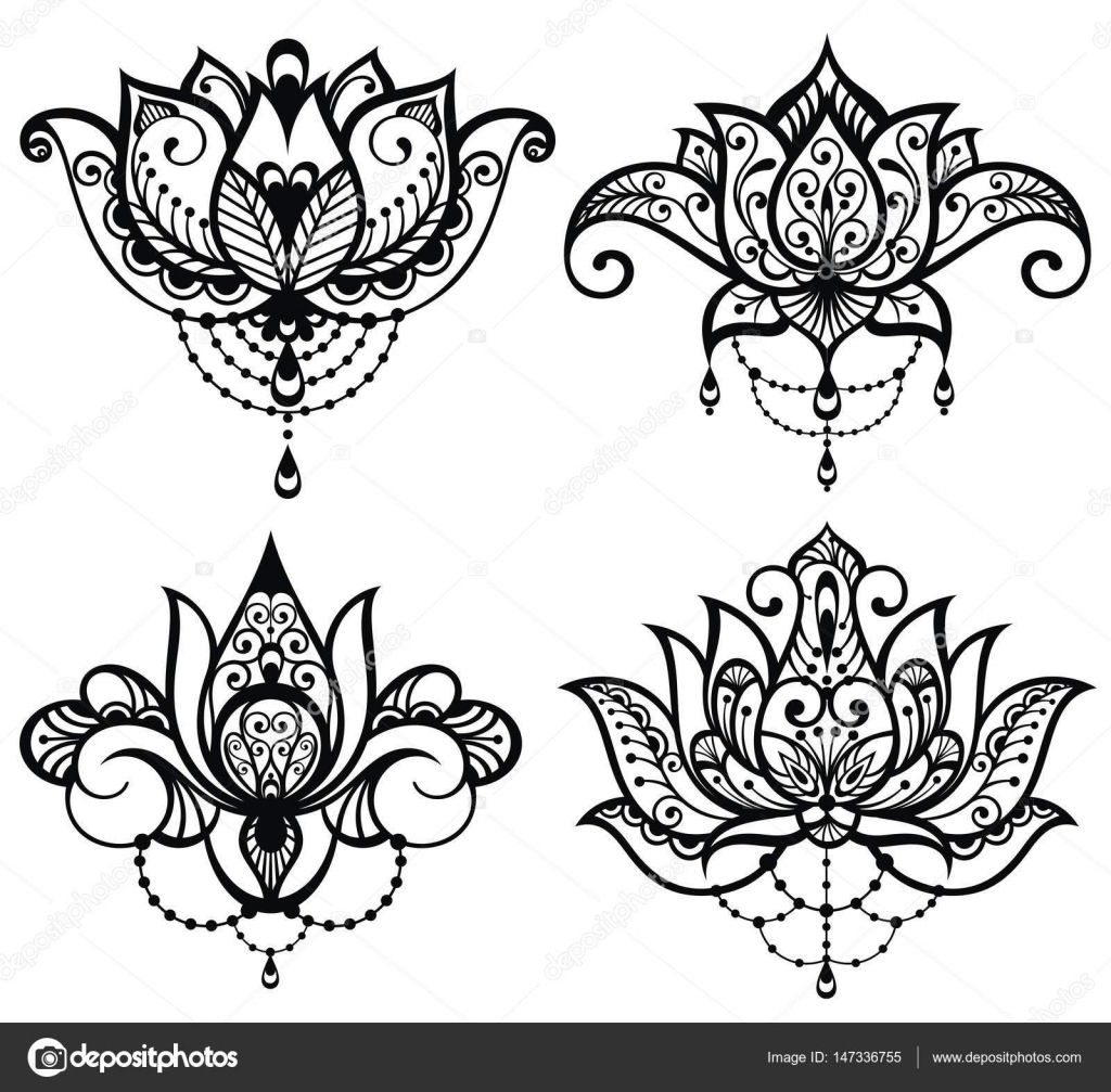 lotus tattoo set � stock vector 169 ksyshakiss 147336755