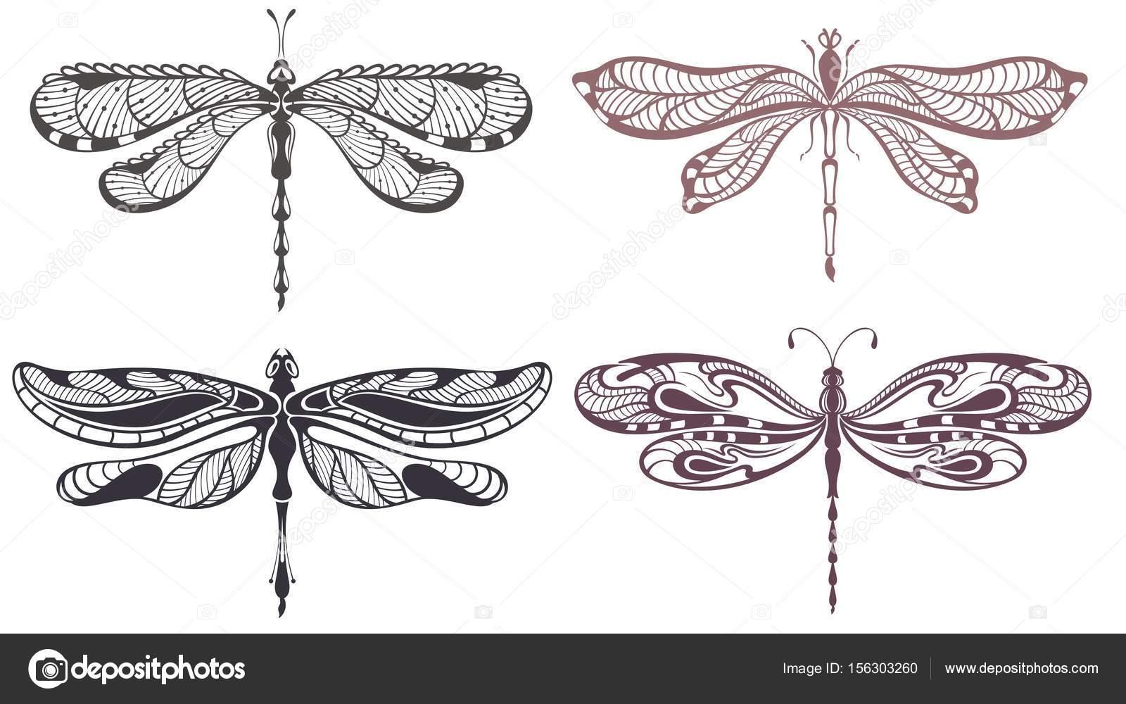 ensemble de tatouage libellule — image vectorielle ksyshakiss