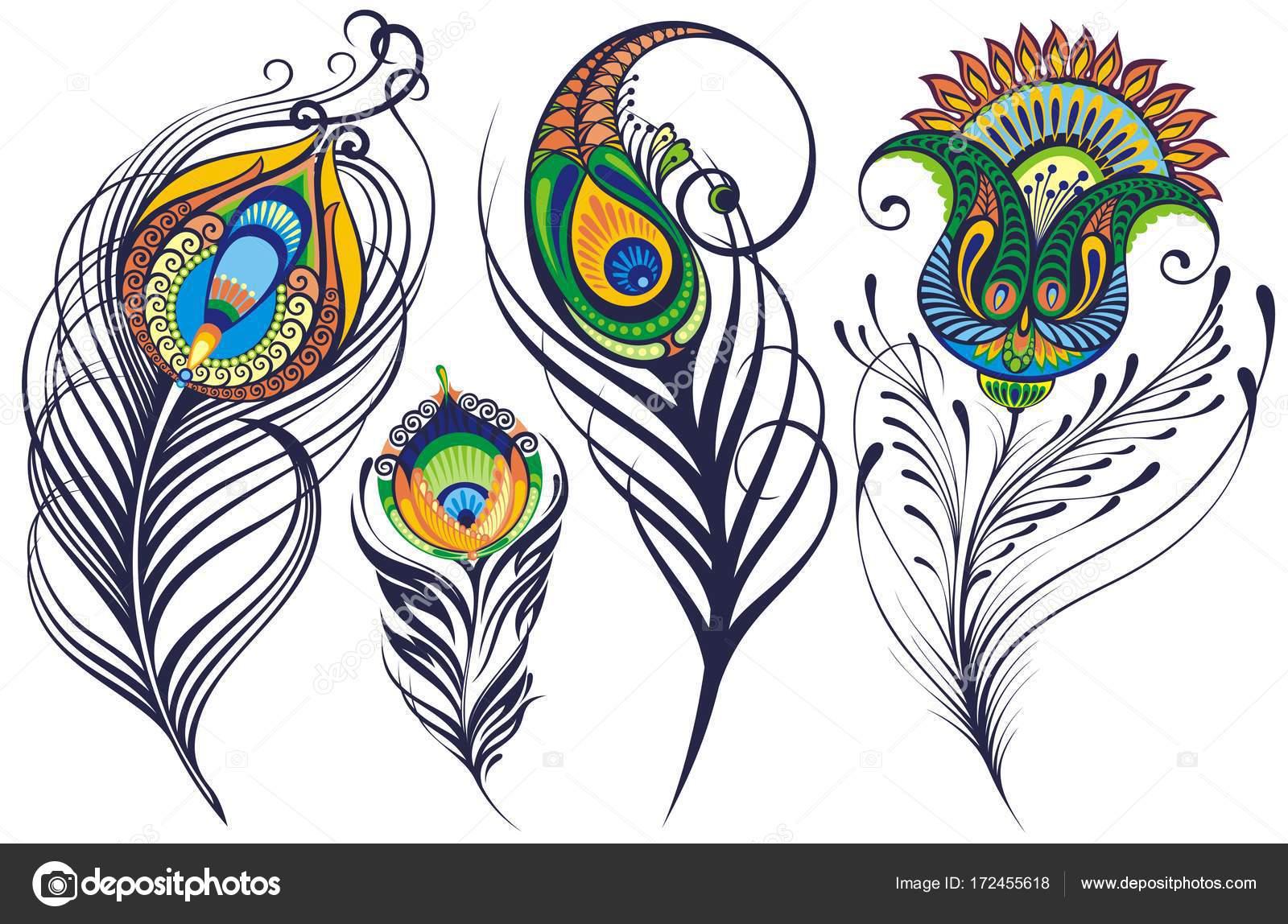Sanat Renkli Tavus Kuşu Tüyleri Lekeli Beyaz Arka Plan Suluboya Boya