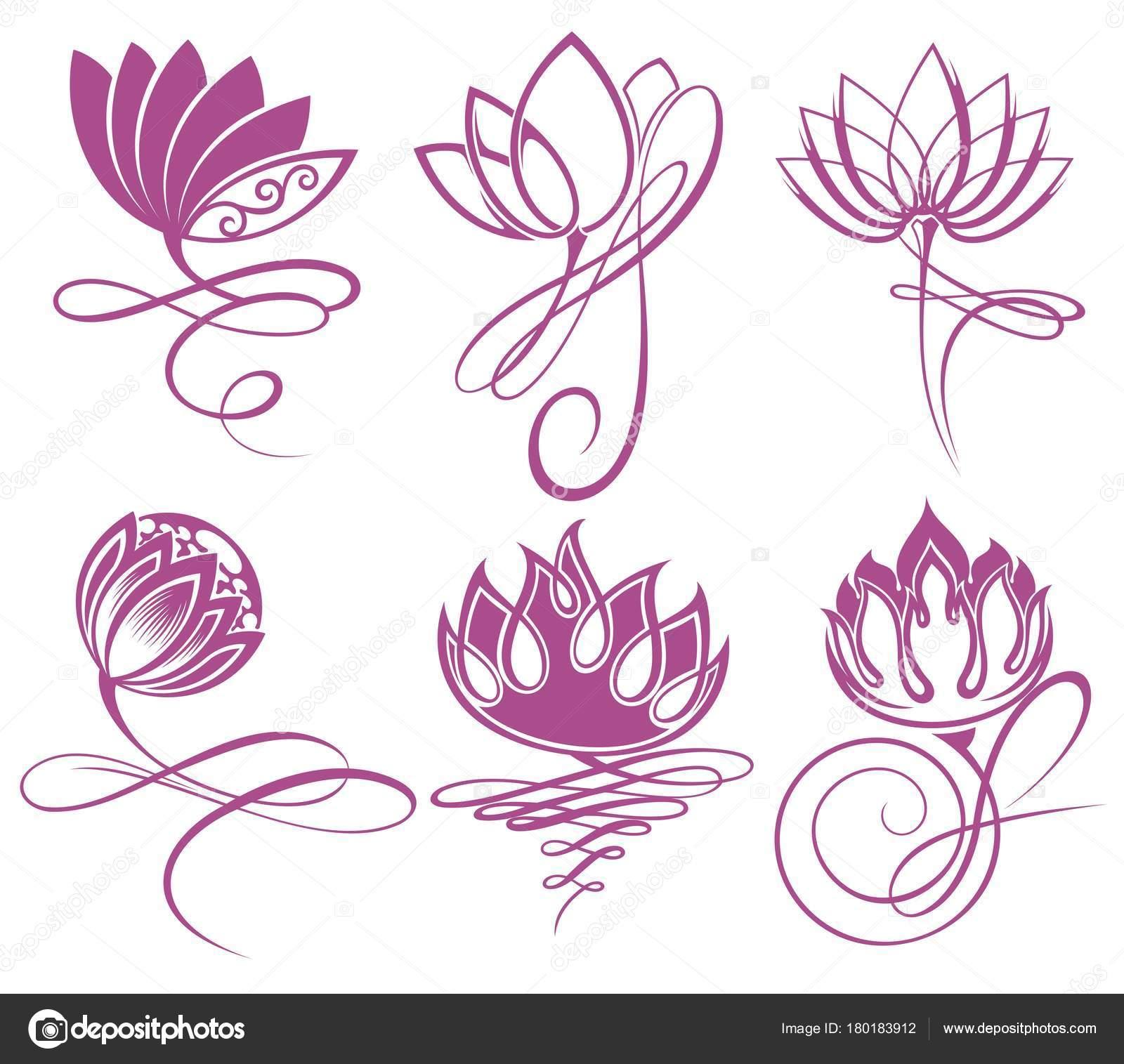 Diseños De Flores De Loto Flores Loto Vector Belleza Diseño Icono