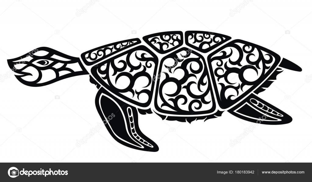 Grafischen Meeresschildkröte Schwarz Weiß Design — Stockvektor ...