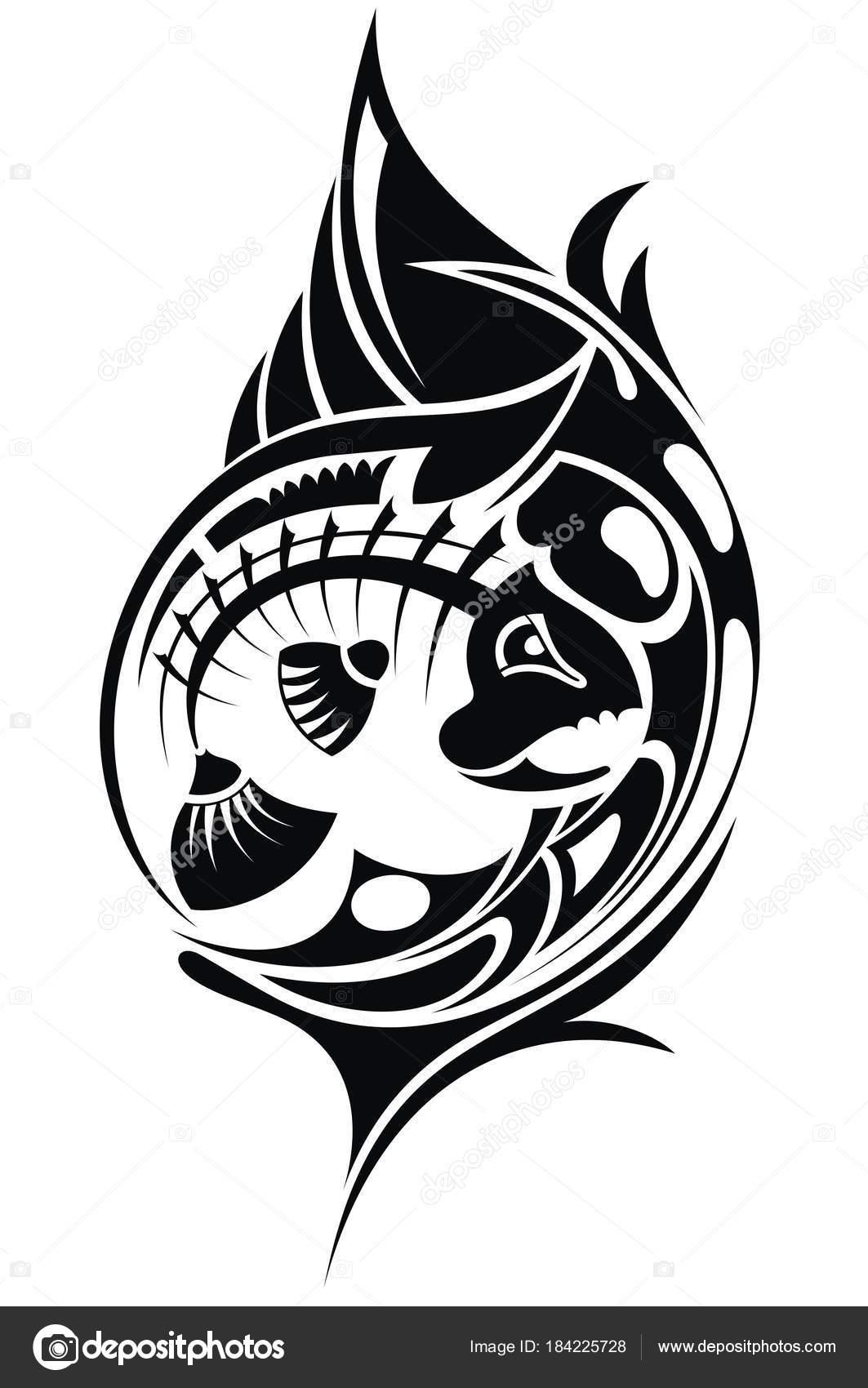 Ilustracion Tatuajes De Esqueletos De Pescado Blanco Negro