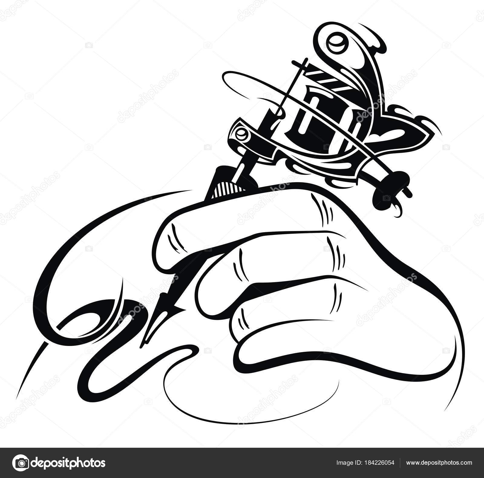 Black and white design of hand with manual tattoo machine — Vector by  Ksyshakiss