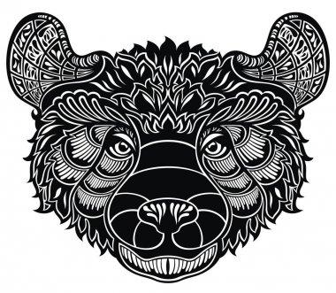 Decorative Bear Head Logo  Emblem in tattoo style