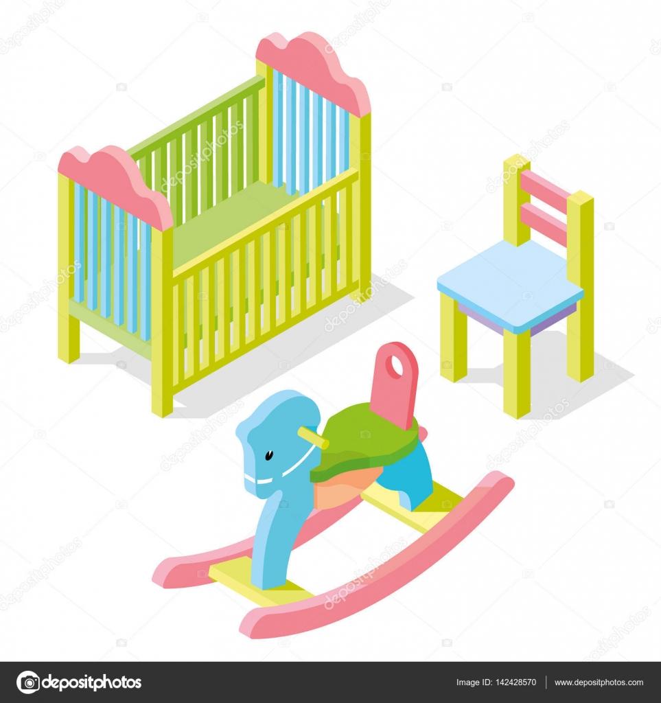 Set set color isométrica muebles cuna, silla y silla de caballo de ...
