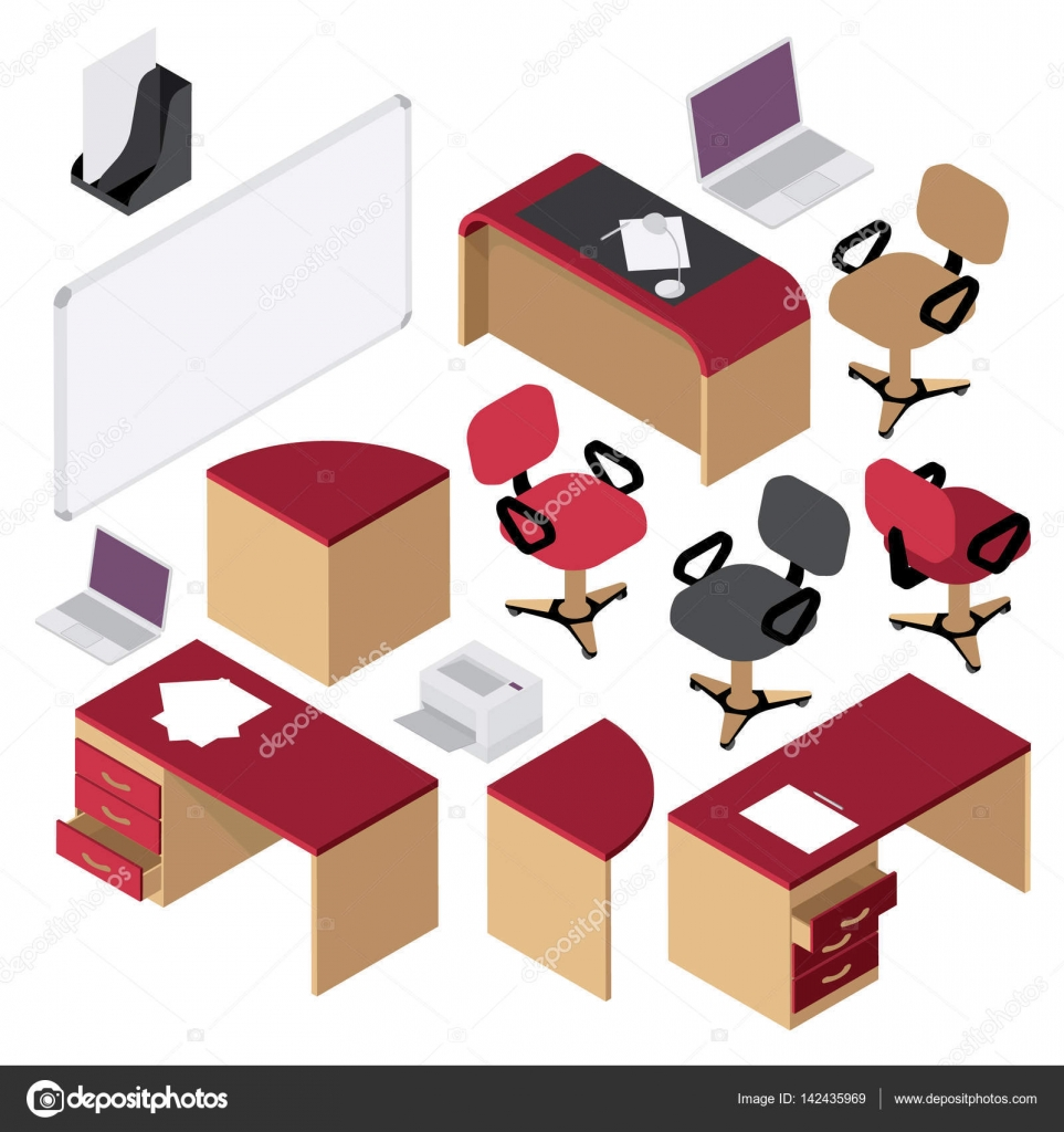 isometric office furniture vector collection. office interior set isometric furniture stationery computer desk armchairs chairs table u2014 vector by badalov collection r