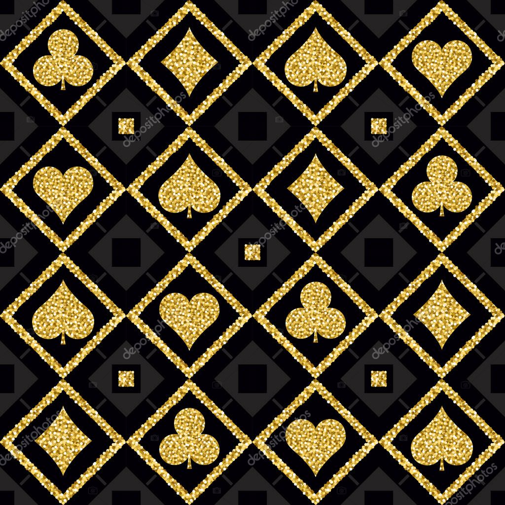 Seamless Casino Gambling Poker Background With Golden Symbols Vector Illustration Ideal For Printing Onto Fabric And Paper Or Scrap Booking Premium Vector In Adobe Illustrator Ai Ai Format Encapsulated