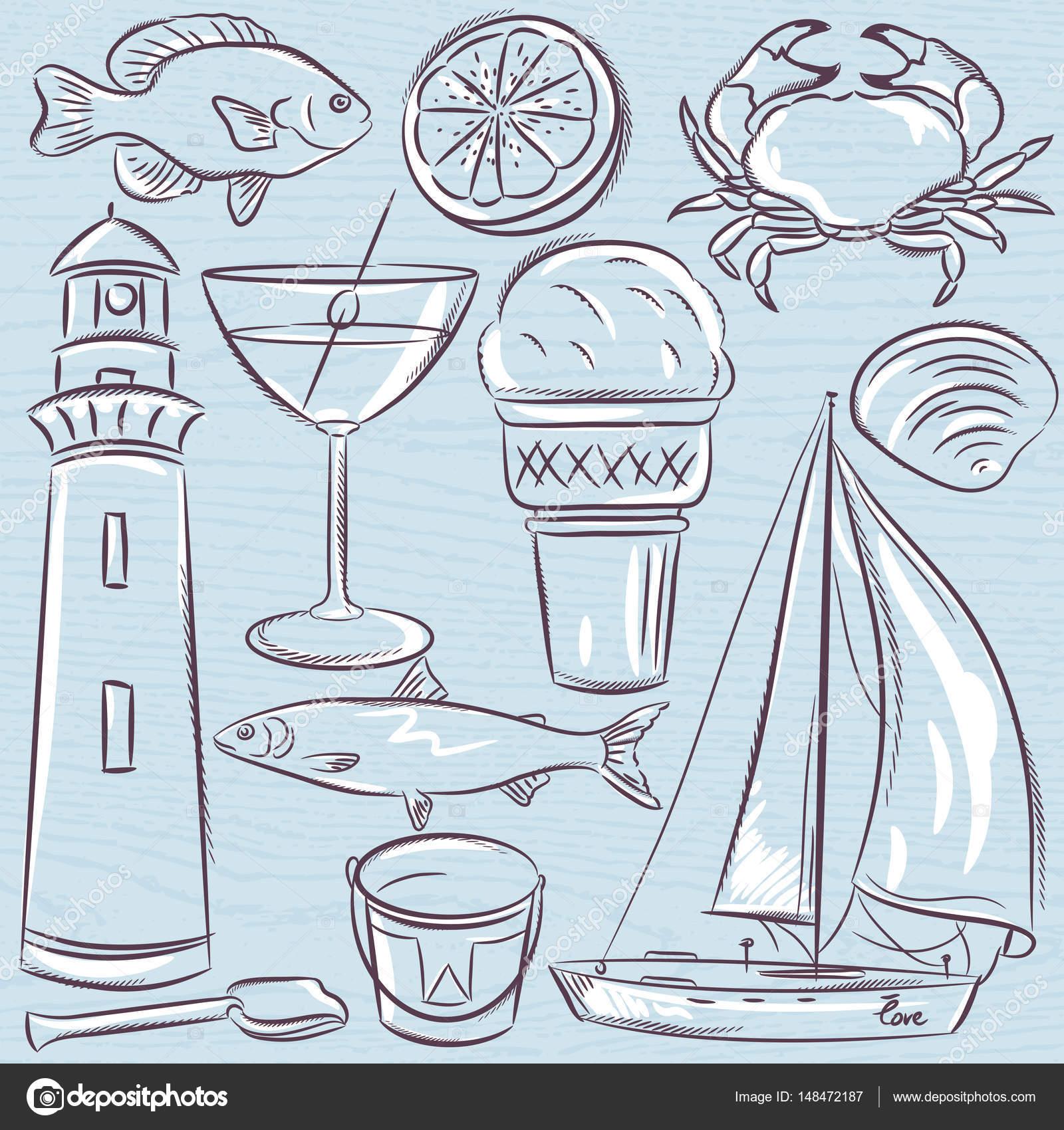 Conjunto de símbolos de verano, conchas, cangrejo, coctel, faro de ...