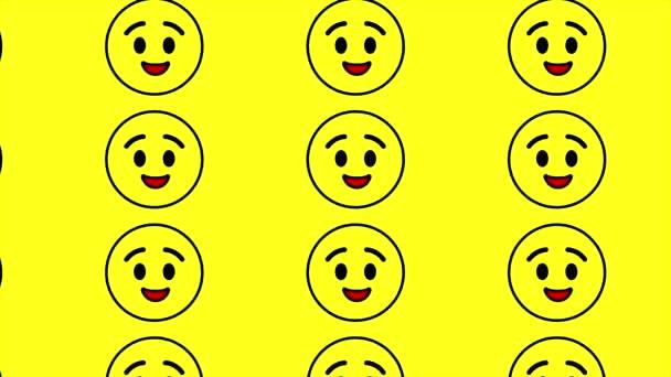 Mrkání roztomilý smajlík tváře emoji na žlutém pozadí