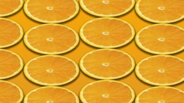 Orange and slices isolated on orange background