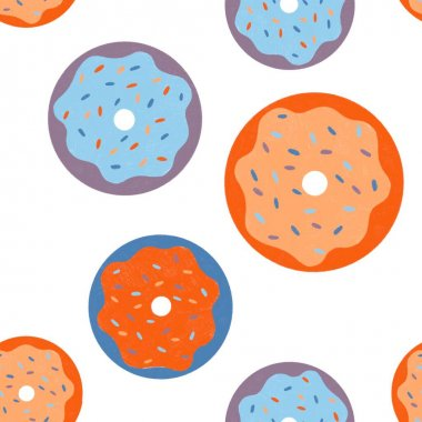 donuts seamless pattern in bright colors. glazed sweet donuts for web design, background or textile print. multicolored desserts. illustration for fabric or textile print.