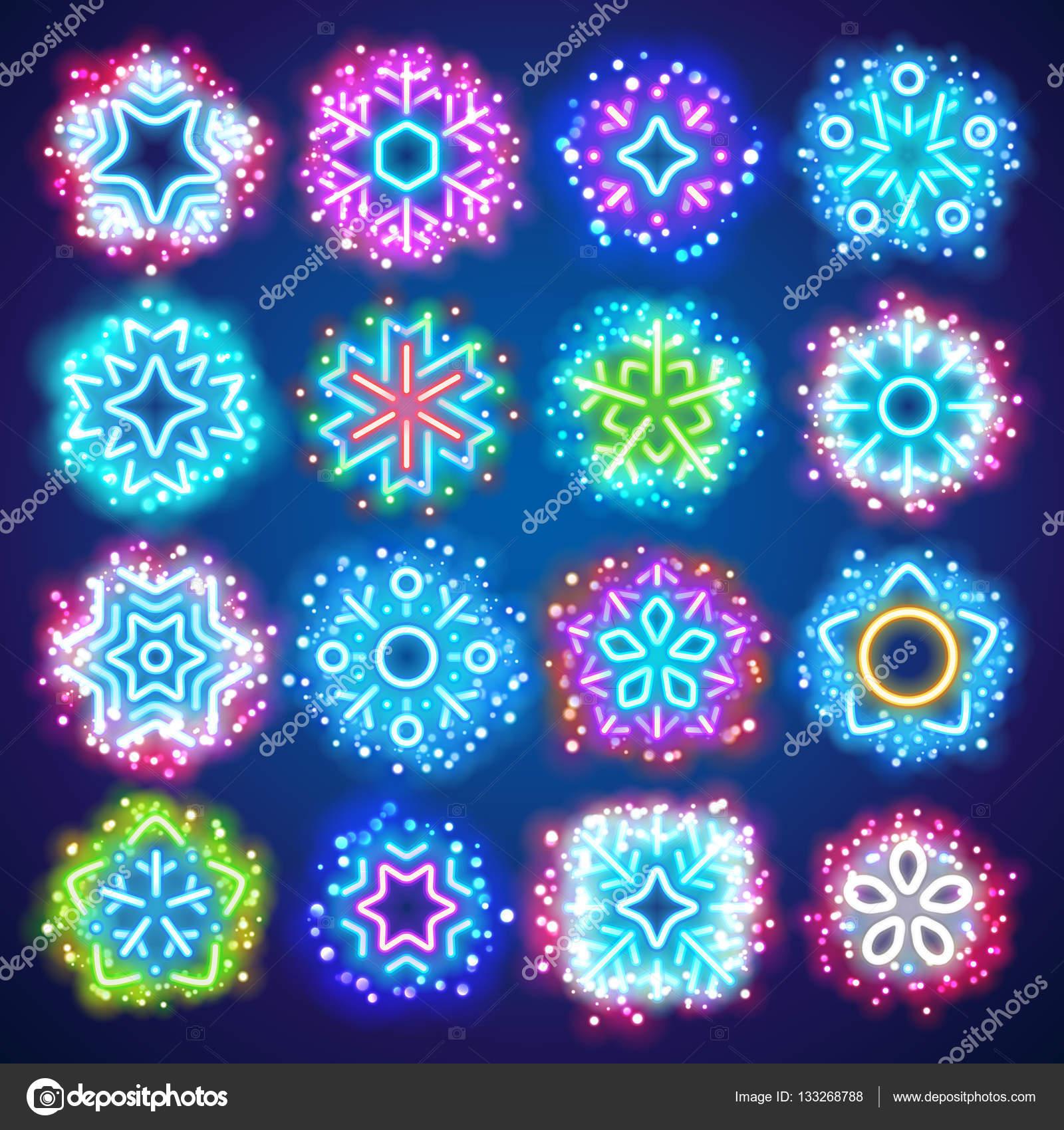 Weihnachten Neon Schneeflocken mit magischen funkelt — Stockvektor ...