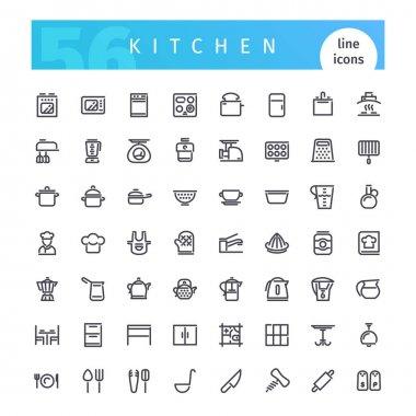Kitchen Line Icons Set