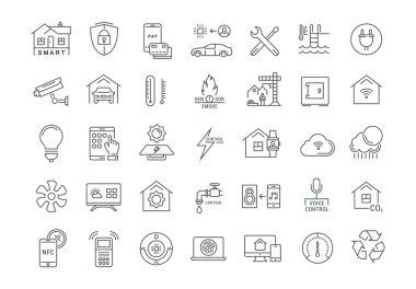 Set Vector Flat Line Icons Smart House