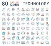 Set Vector Flat Line Icons Technologie